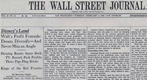 Walt Disney quote wall street journal 4 February 1958