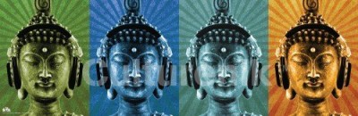 Buddha wearing headphone poster
